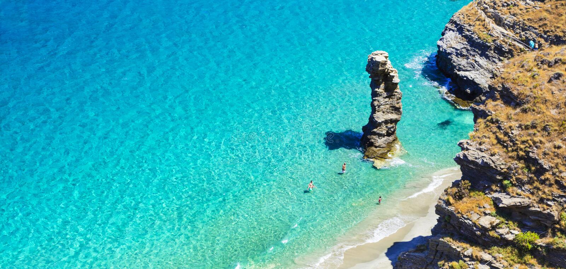 Impressive Andros Island, Tis Grias To Pidima,Greece. Turquoise beautiful beaches of Greece - Andros, Tis Grias To Pidima stock photography