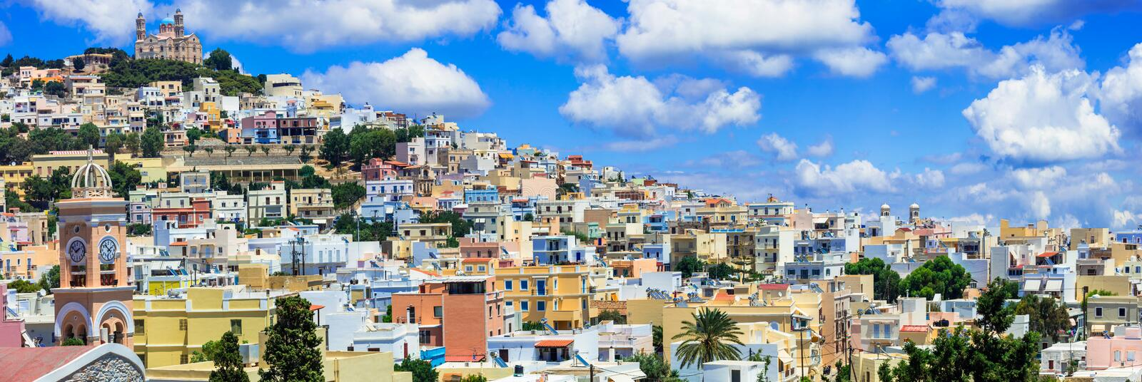 Traditional colorful houses,Syros island,Greece. royalty free stock photography