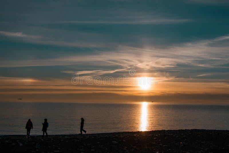 Impressive beautiful winter sunset on the Black Sea, Russia. stock photography