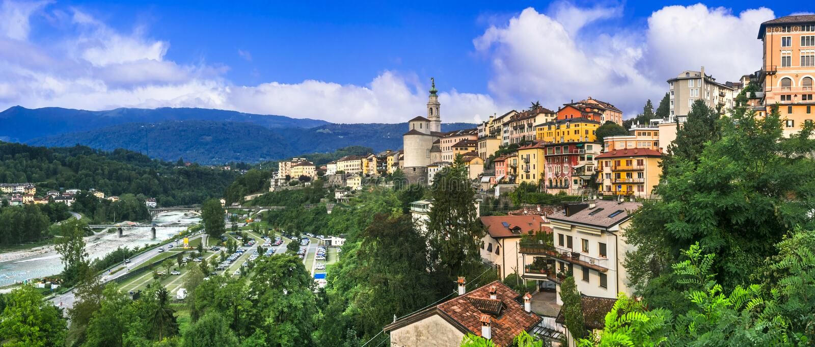 Travel in northern Italy - beautiful Belluno town surrounded by Dolomite mountains. Impressive Belluno town,panoramic view,Veneto,Italy stock photo
