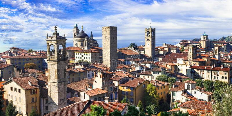 Landmarks of northern Italy - medieval town Bergamo. panoramic view with towers stock image
