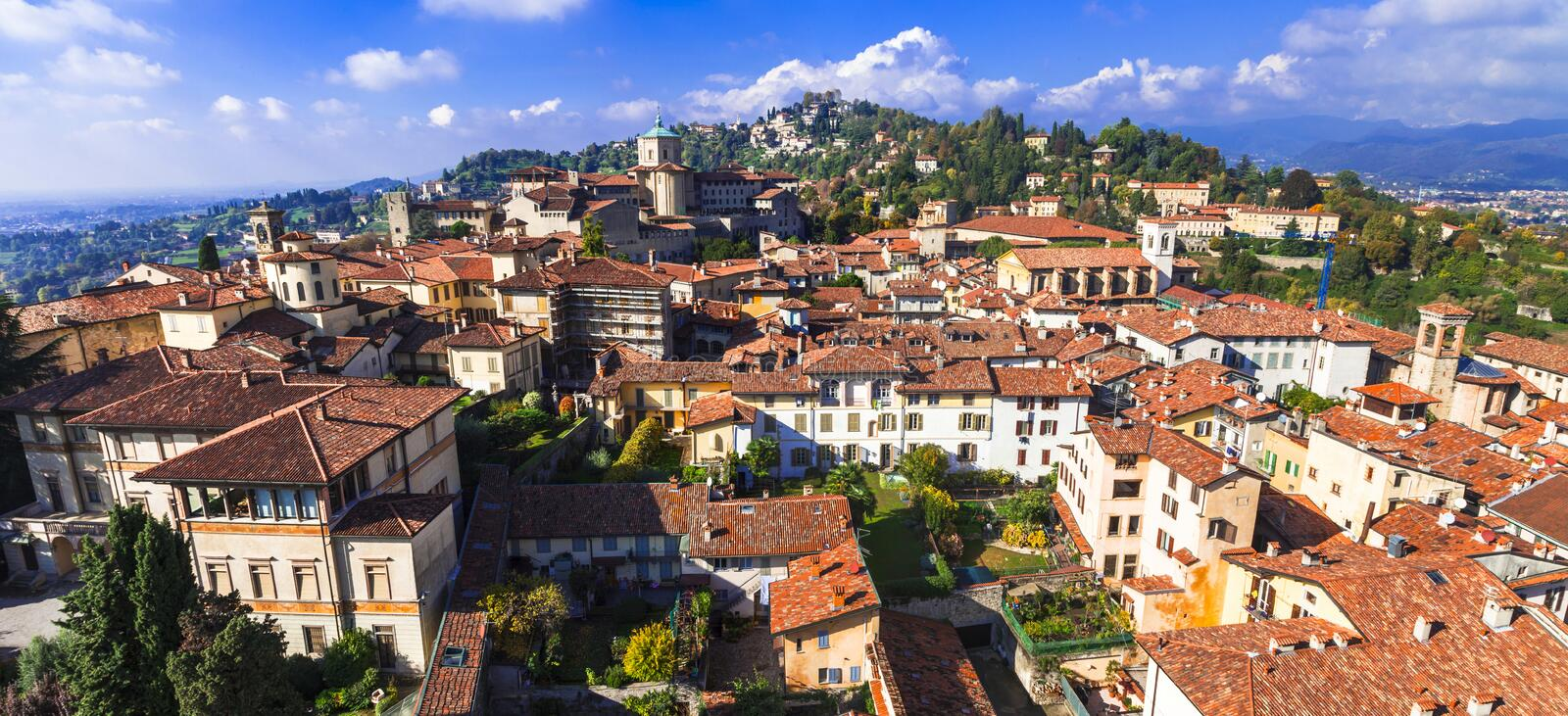 Travel and landmarks of northern Italy - Bergamo medieval town royalty free stock photography