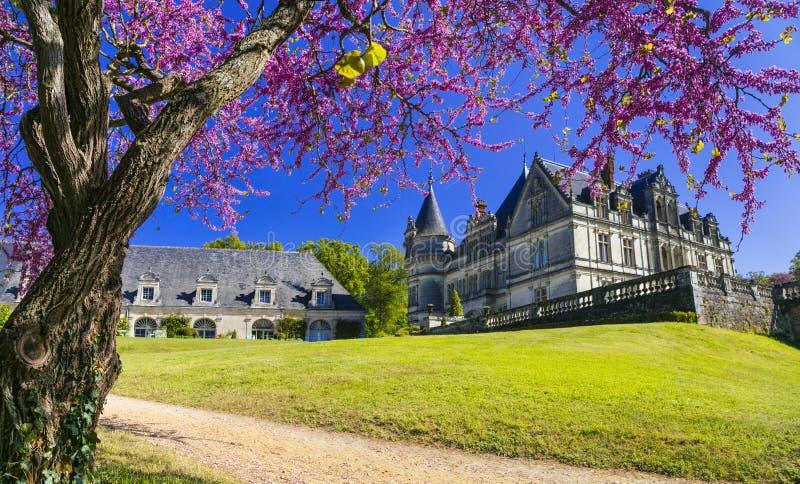 Impressive Bourdaisiere castle,Loire valley,France. stock images