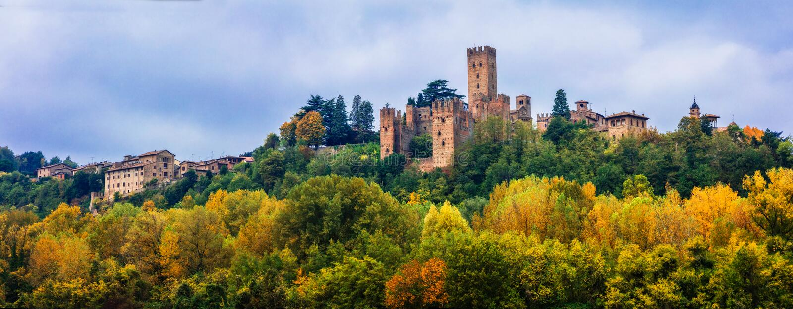 Medieval towns and castles of Italy - Castell` Arquato in Emilia-. Impressive Castell` Arquato village,panoramic view,near Piacenza,Italy royalty free stock photography