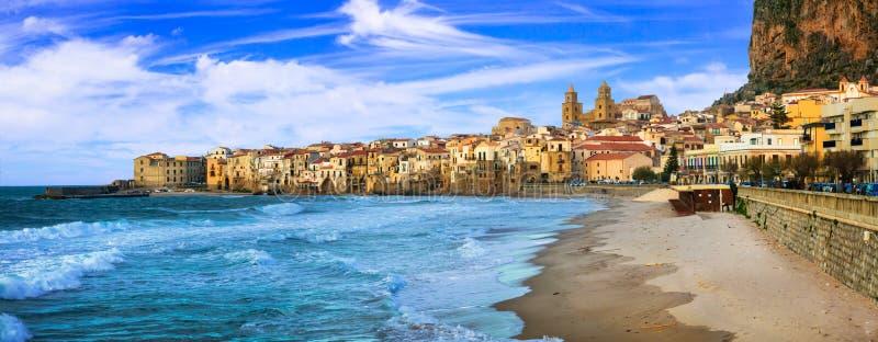 Cefalu - beautiful coastal town in Sicily, Italy. Impressive Cefalu village,Sicily,Italy stock photo