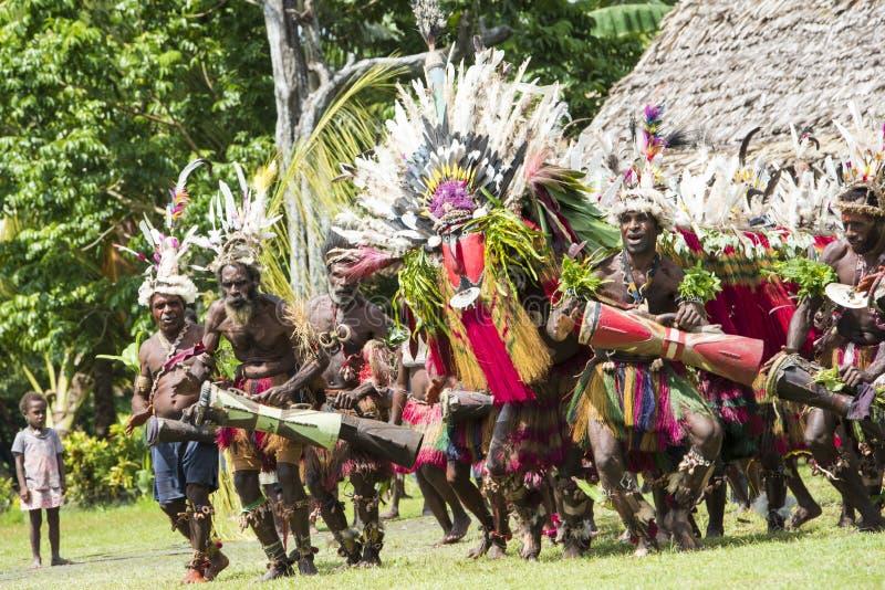 Impressive dragon dance ceremony, New Guinea royalty free stock photo