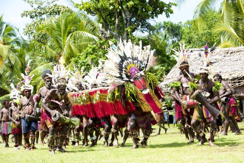Impressive dragon dance ceremony on Sepik River, New Guinea stock photos