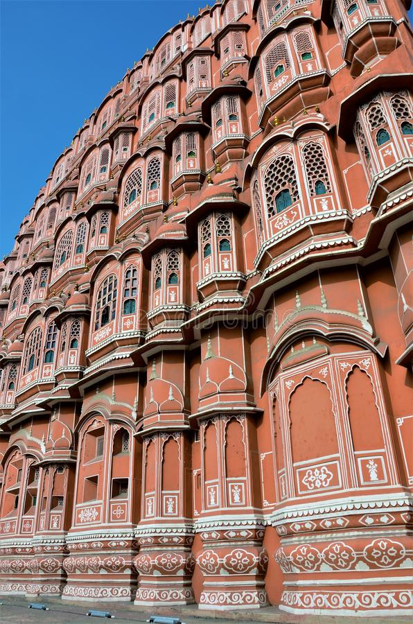 Landmarks of India - Hawa Mahal - The Wind Palace. The impressive facade of the Hawa Mahal or Wind Palace of Jaipur in India stock photos