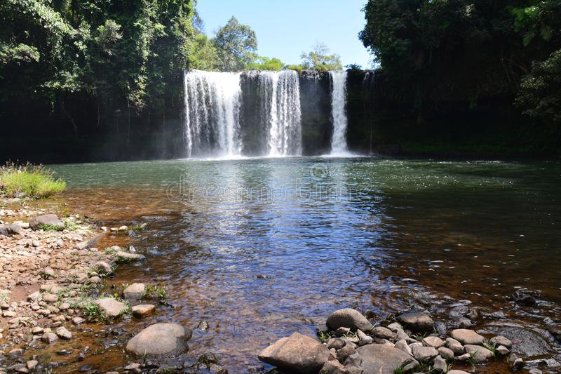 Tad Etu Waterfalls in Bolovens Plateau in Laos. The impressive falls of Tad Etu, a double waterfall near Pakse in the Bolovens Plateau in the southern part of royalty free stock photography