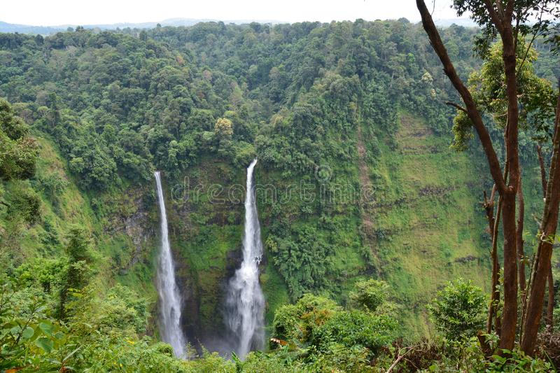 Tad Fane Waterfalls in Bolovens Plateau in Laos. The impressive falls of Tad Fane, a double waterfall near Pakse in the Bolovens Plateau in the southern part of royalty free stock images