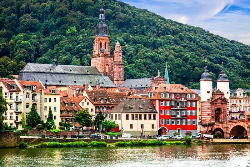 Landmarks of Germany - medieval Heidelberg town in Baden-Wurtte. Impressive Heidelberg medieval town,Germany royalty free stock images