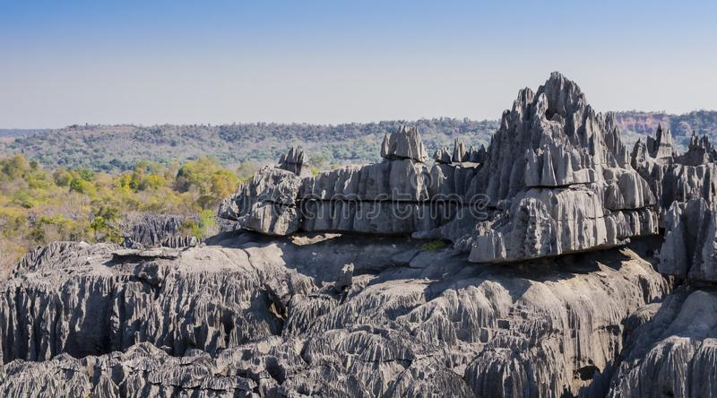 Karst limestone formations in Tsingy de Bemaraha National Park, Madagascar. Impressive karst limestone formations in Tsingy de Bemaraha National Park, Madagascar stock image