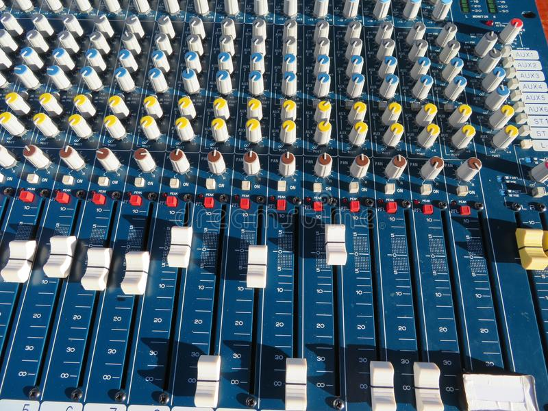 Impressive mixer with a lot of buttons and too many functions royalty free stock photo