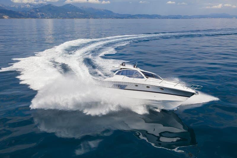 Motor boat in navigation royalty free stock photo