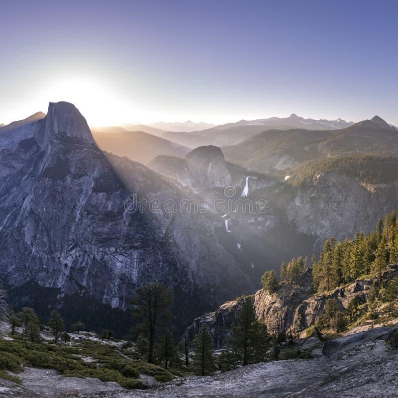 Impressive mountain and Falls at Yosemite CA stock photo