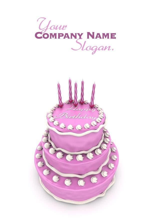 Impressive pink birthday cake royalty free illustration