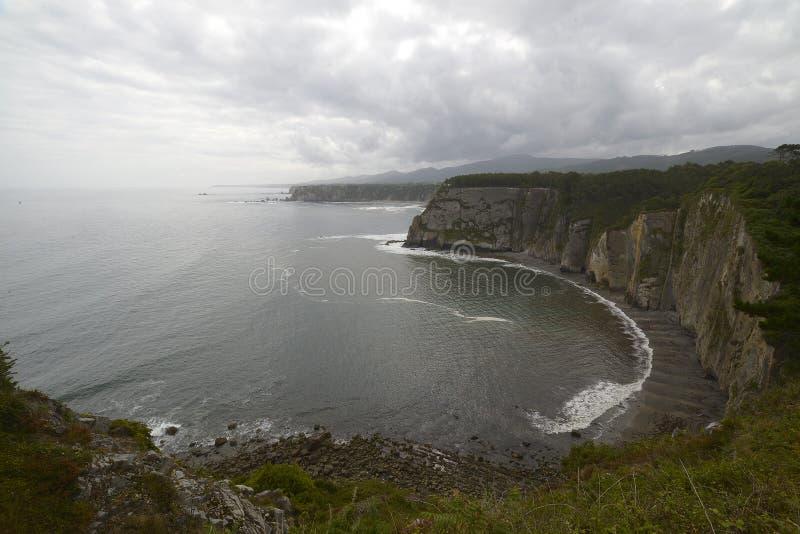 Impressive rock cliffs in the Cantabrian Sea in Asturias. The impressive rock cliffs in the Cantabrian Sea in Asturias royalty free stock photography