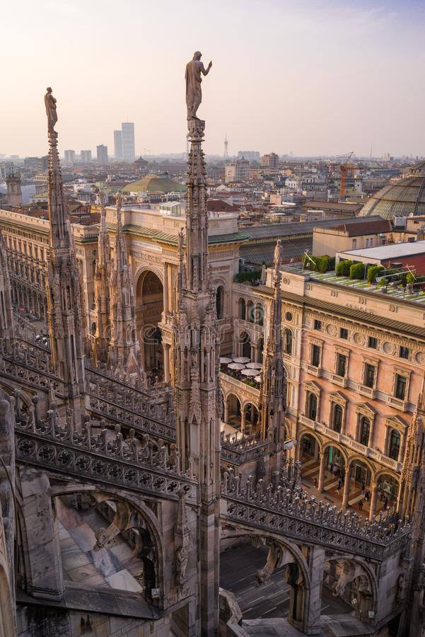 Vertical view from the Duomo rooftop of the Palazzo Settentrionale at sunset. stock photography