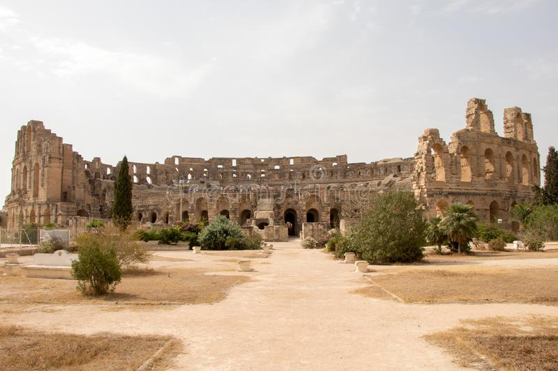 The third largest Roman amphitheater in the world, El Jem, Tunisia, Africa. The impressive ruins of the largest colosseum in North Africa, a huge amphitheatre royalty free stock photo