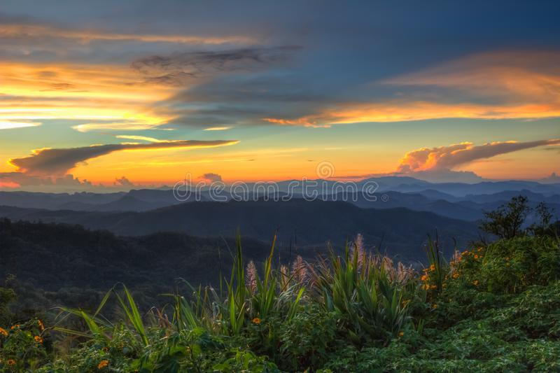 Impressive scenery during sunset from Kiew Lom viewpoint,Pang Mapa districts,Mae Hong Son,Northern Thailand. royalty free stock photos