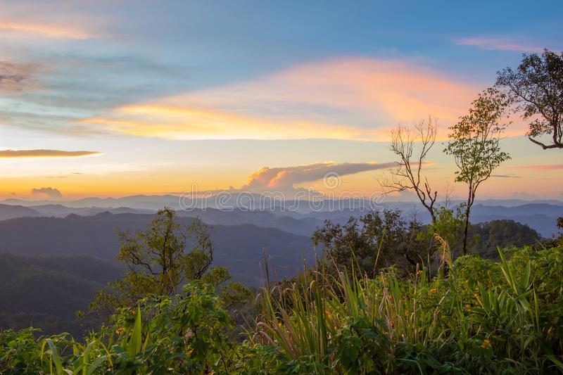 Impressive scenery during sunset from Kiew Lom viewpoint,Pang Mapa districts,Mae Hong Son,Northern Thailand. royalty free stock photo