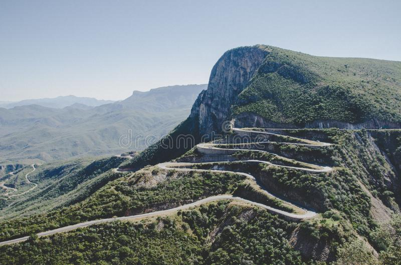 The impressive Serra da Leba mountain pass with many winding curves near Lubango, Angola stock photo