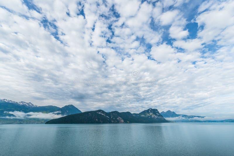 Impressive sky over Lake Lucerne royalty free stock images