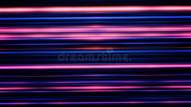 Impressive straight blue and red lines shining on the black background and rotating, seamless loop. Shimmering rays stock illustration