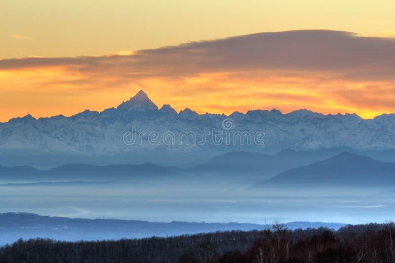 Impressive sunset on Monviso mountain