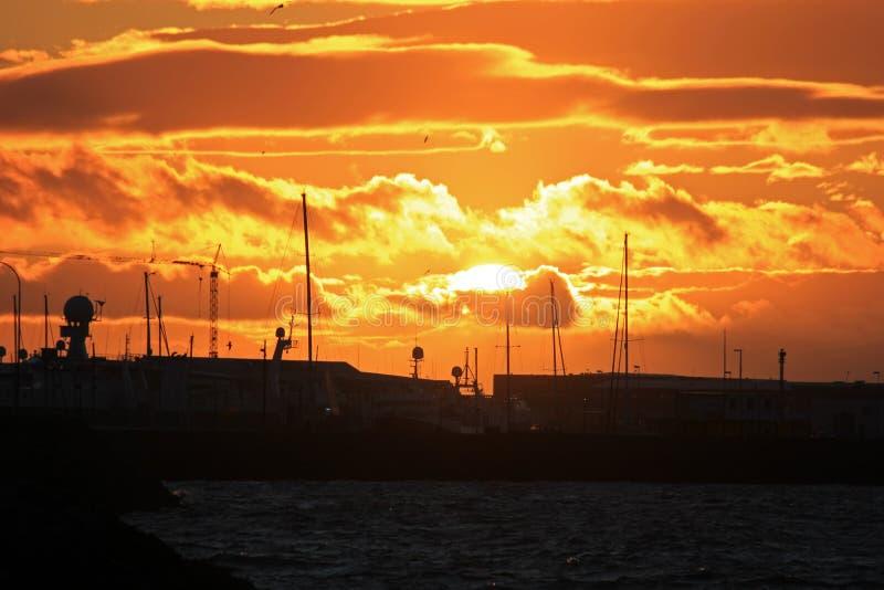 Impressive sunset over reykjavik stock image