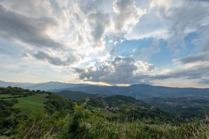 Impressive sunset over the saddle of the generals, a town above the city of Bobbio royalty free stock photos