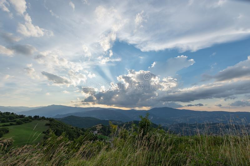 Impressive sunset over the saddle of the generals, a town above the city of Bobbio stock photo
