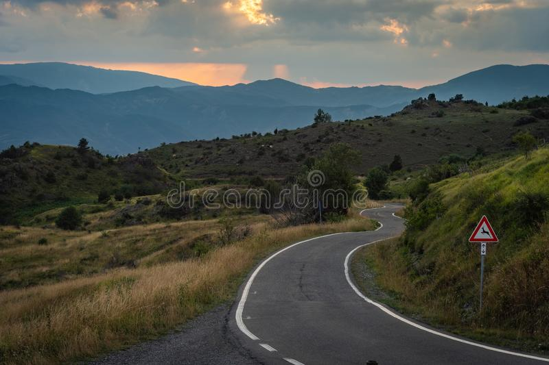 Impressive sunset over the saddle of the generals, a town above the city of Bobbio royalty free stock photography