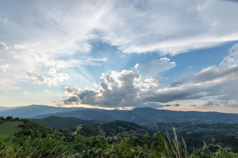 Impressive sunset over the saddle of the generals, a town above the city of Bobbio royalty free stock image