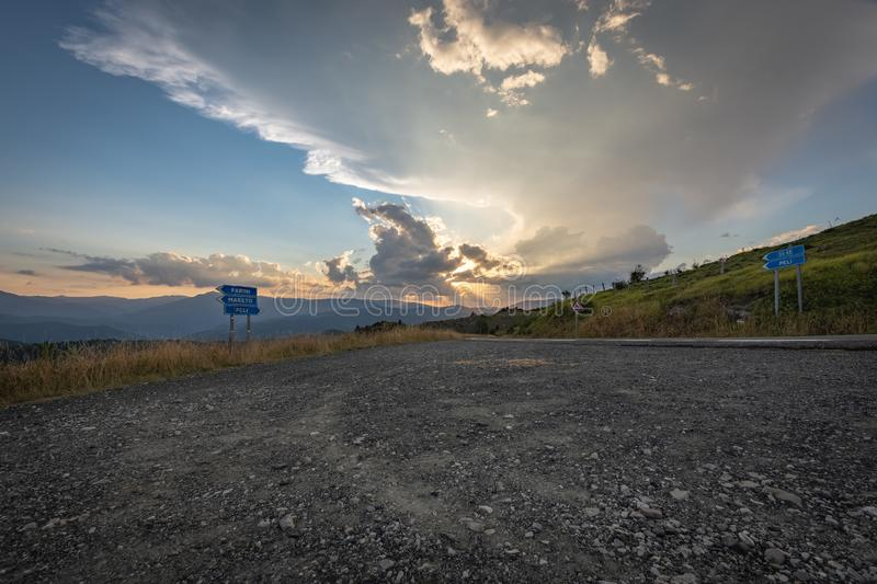 Impressive sunset over the saddle of the generals, a town above the city of Bobbio royalty free stock photo