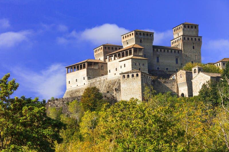 Impressive Torrechiara castle and vineyards,Emilia Romagna,near Parma,Italy. stock images