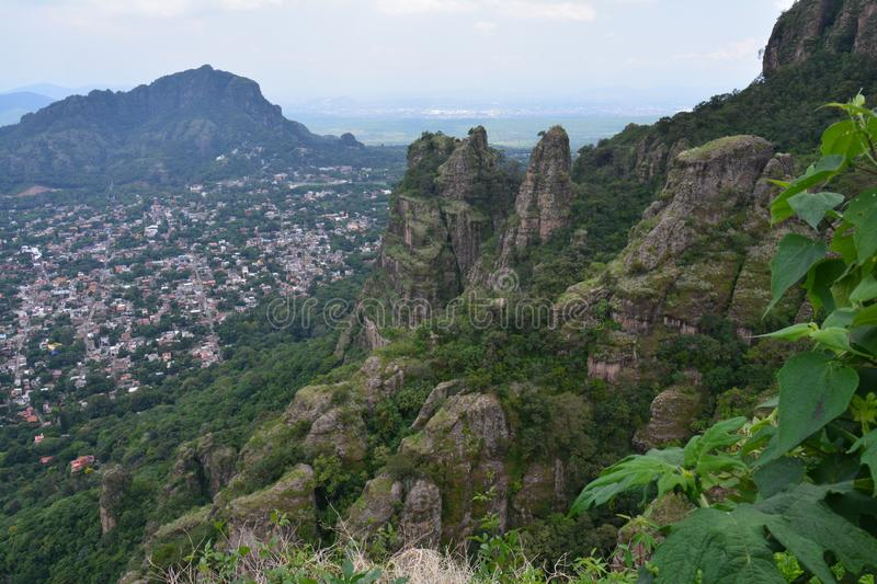 View over Tepoztlán Village from Tepozteco Pyramid in Morelos Mexico royalty free stock photography