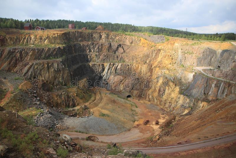 Old copper mine in Falun in Sweden. An impressive view over the great copper mine Unesco world heritage site in Falun in Sweden in the summer stock photo