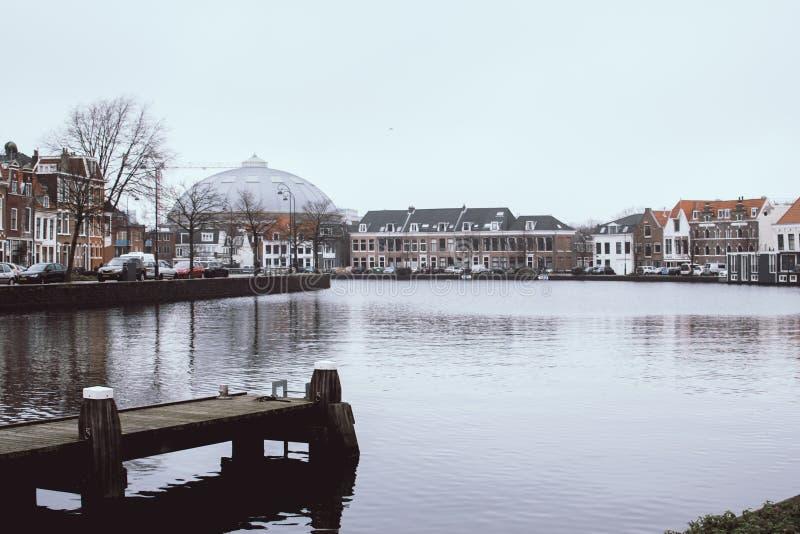 Impressively lugna och fridsamma Haarlem i Nederländerna Hög-kontrast cityscape av en härlig typisk holländsk stad Tr? royaltyfria foton