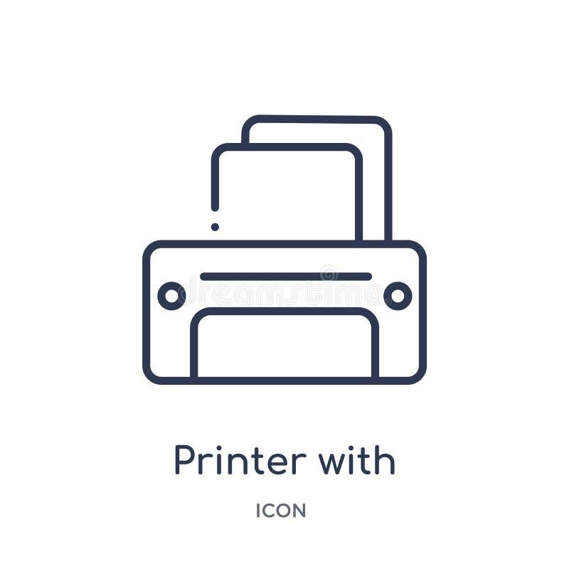 impressora com ícone de papel vazio da folha da coleção do esboço das ferramentas e dos utensílios Linha impressora fina com ícon ilustração do vetor