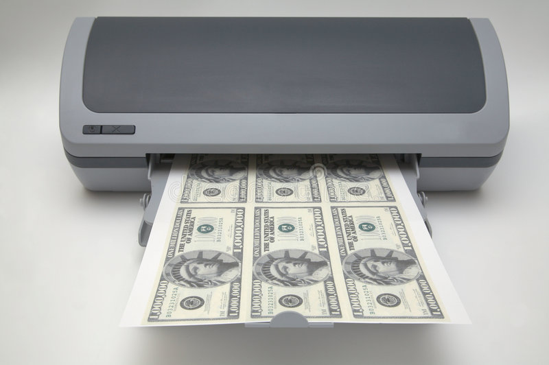 Impressora com 1000000 contas de dólar imagem de stock