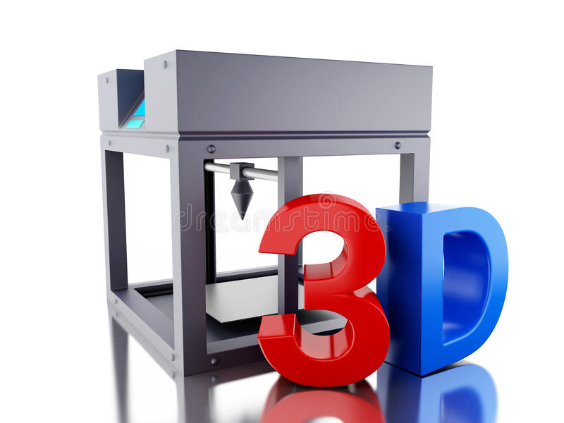impressora 3D tridimensional ilustração stock