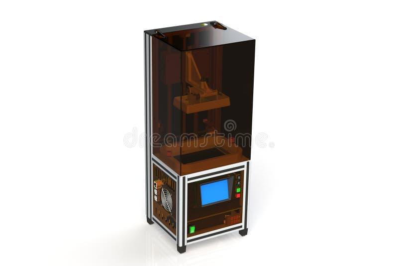Impressora da joia 3d do Desktop para imprimir a joia pequena rendi??o 3d de meu projeto da impressora ilustração royalty free