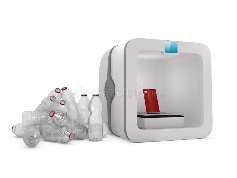 Impressora de ECO 3D com a garrafa plástica usada ilustração do vetor