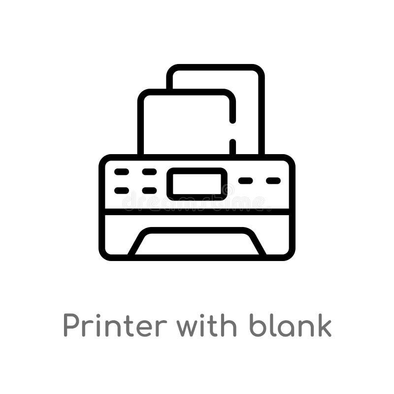 impressora do esboço com ícone de papel vazio do vetor da folha linha simples preta isolada ilustração do elemento das ferramenta ilustração do vetor