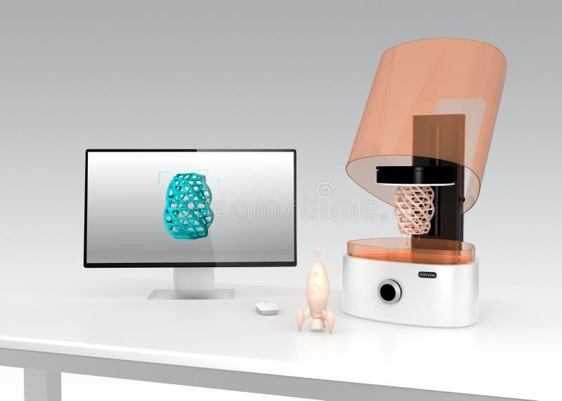 Impressora e monitor de SLA 3D em uma tabela ilustração do vetor