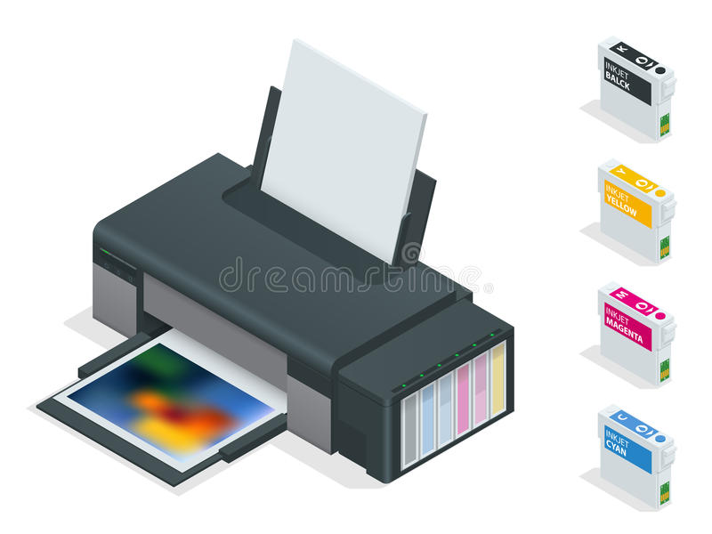 Impressora a jato de tinta da foto A impressora de cor imprime a foto no fundo isolado branco Quatro cartuchos recarregávéis vazi ilustração stock