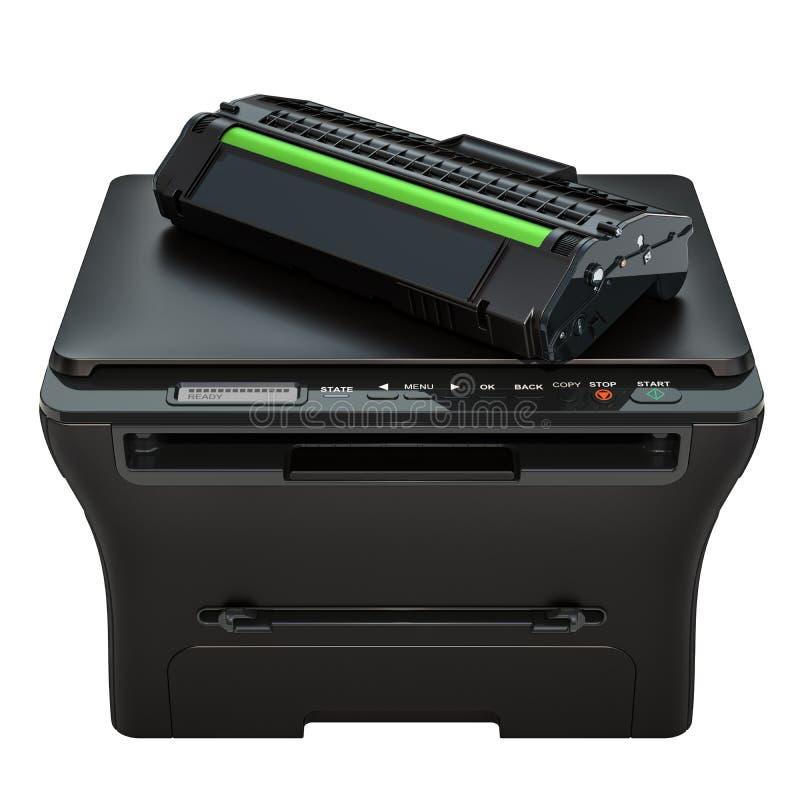 Impressora Multifunction com cartucho de toner, rendição 3D ilustração royalty free