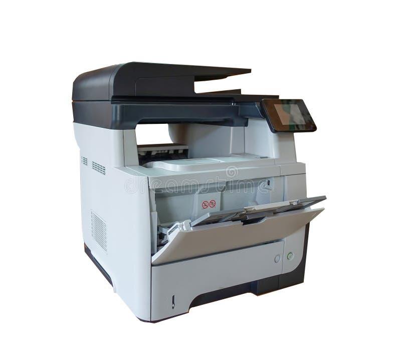 Impressora multifunction do escritório isolada no branco com trajeto de grampeamento imagem de stock royalty free