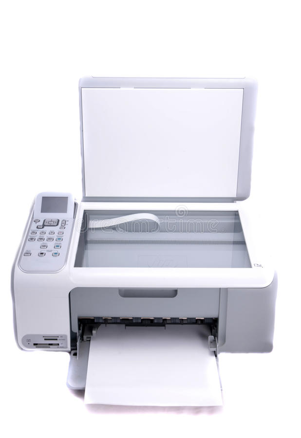 Impressora Multifunction isolada no branco fotos de stock royalty free